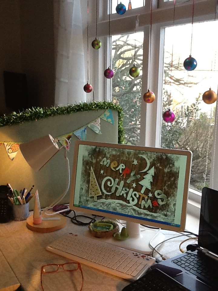 Christmas Office 1 Home Desk Decorated